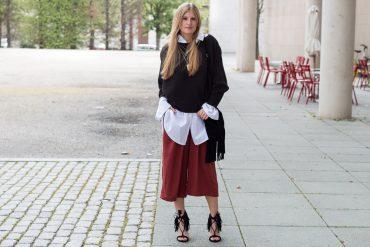 Weinrote Culotte kombinieren OOTD Outfit Fransen High Heels JustFab Frühlingslook t