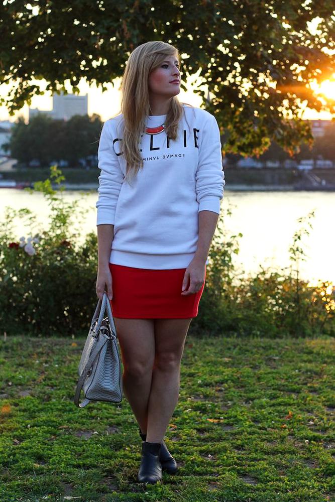 CELFIE Sweater casual Alltags Outfit kombinieren Sonnenuntergang Rhein Bonn Modeblog 3