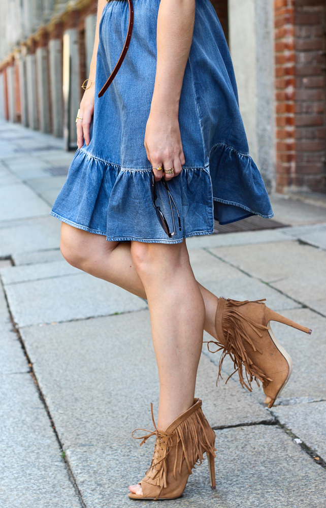 Jeanskleid Fransen High Heels JustFab Mailand Modeblog Summerlook 3