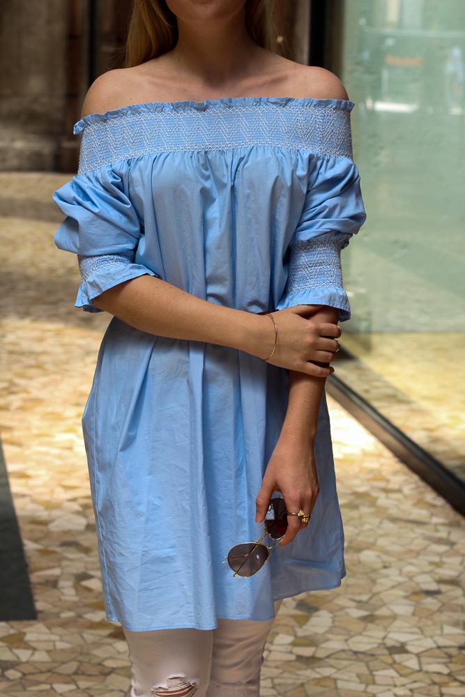 Blaue Zara Off-Shoulder Bluse schulterfreies Top hellblau Mode Blogger Sommertrend 2016 91