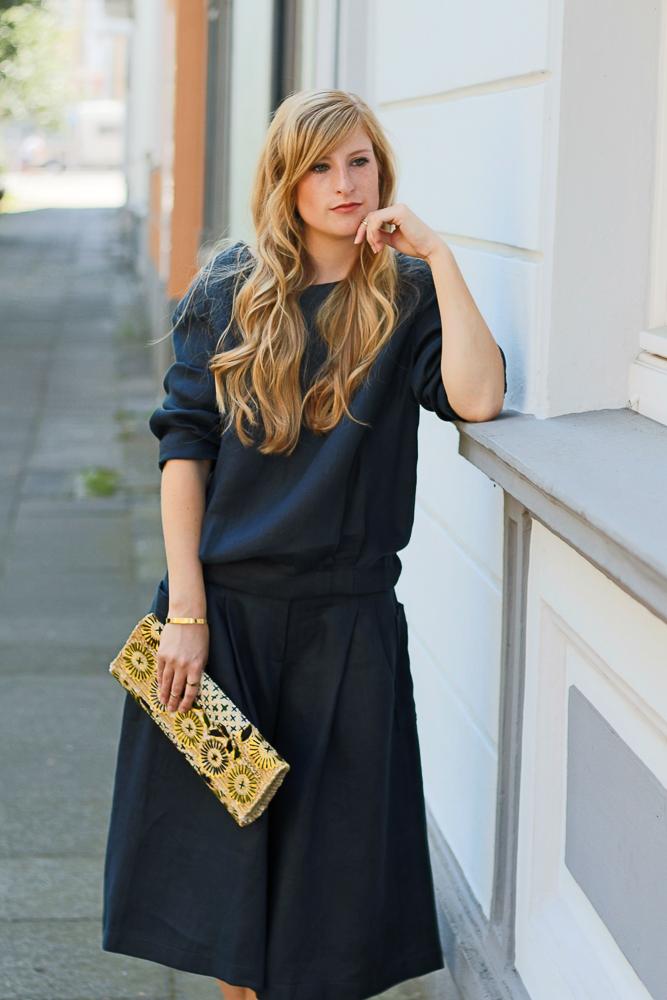 All Black Zweiteiler Anne Gorke Schwarze Culotte Clutch Abury Sparkle Store Outfit Modeblog 2