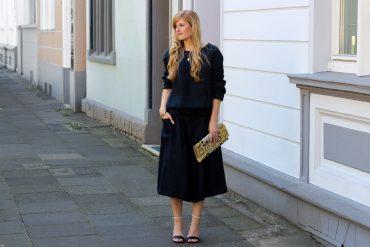 All Black Zweiteiler Anne Gorke Schwarze Culotte Clutch Abury Sparkle Store Outfit Modeblog t