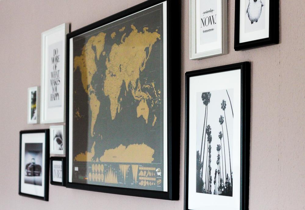 Blogger Interior Bilderwand Schwarz Weiß Weltkarte Palmen Bild