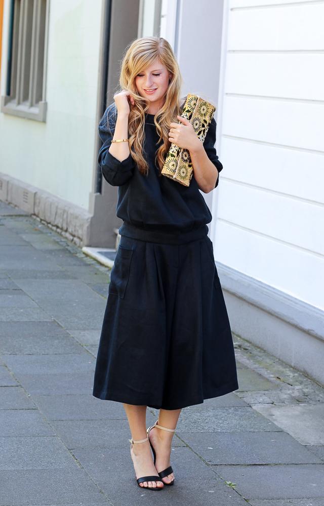 Steetstyle Zweiteiler Anne Gorke Schwarze Culotte Clutch Abury Sparkle Store Outfit Modeblog 3