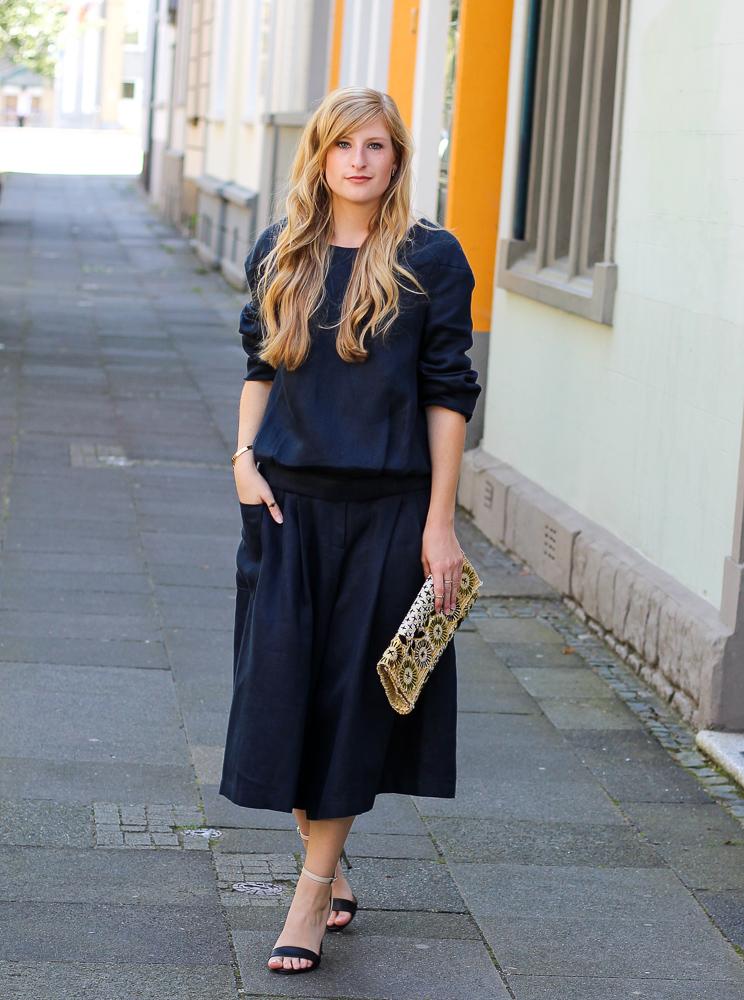 Streetstyle Zweiteiler Anne Gorke Schwarze Culotte Clutch Abury Sparkle Store Outfit Modeblog 1