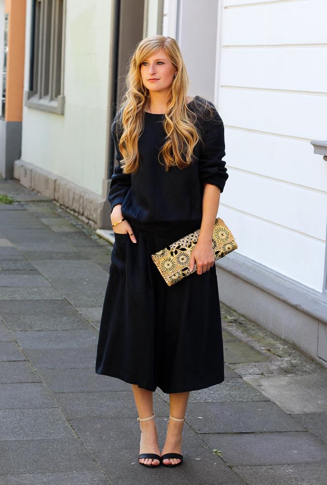 Streetstyle Zweiteiler Anne Gorke Schwarze Culotte Clutch Abury Sparkle Store Outfit Modeblog 93