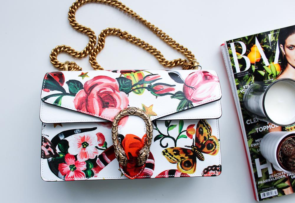 exklusive Designertasche Gucci Dionysus Garden-Print Modeblog Trendtasche bunt Blumen Schlange