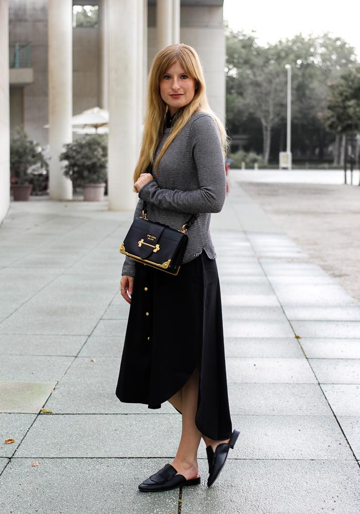Herbst Trend Tasche Prada Cahier Bag schwarzes Maxikleid kombinieren Zara Pullover Modeblog Herbstoutfit 1