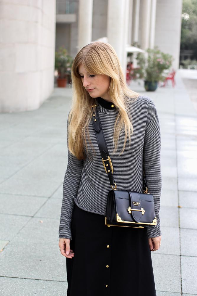 Herbst Trend Tasche Prada Cahier Bag schwarzes Maxikleid kombinieren Zara Pullover Modeblog Herbstoutfit 2