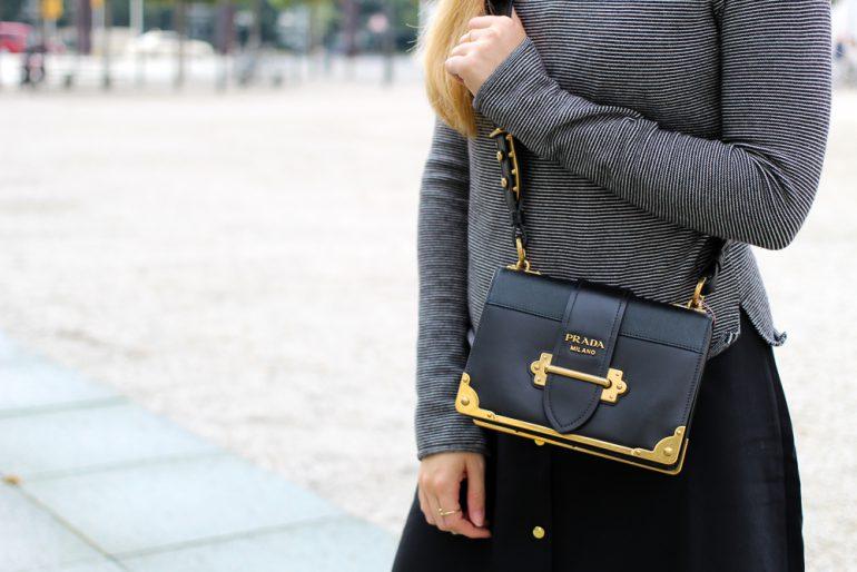 Herbst Trend Tasche Prada Cahier Bag schwarzes Maxikleid kombinieren Zara Pullover Modeblog Herbstoutfit