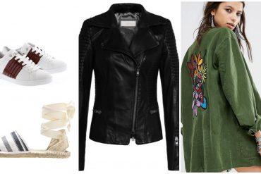 Mode im Alltag weiße Sneaker Espadrilles Lederjacke