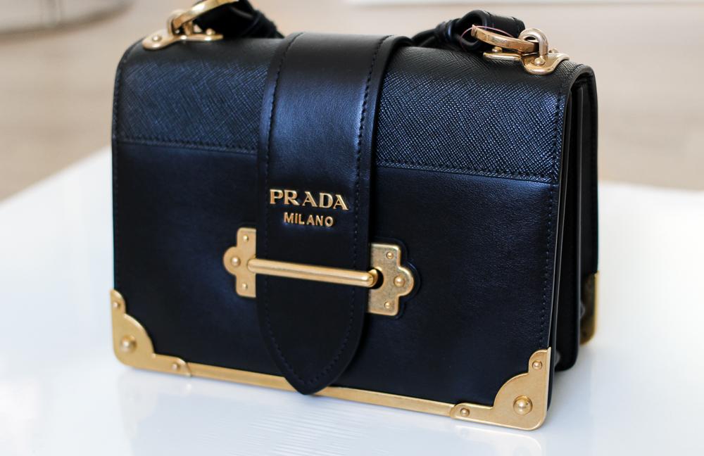 Prada Trend Tasche Prada Cahier Bag Herbst IT-Bag Schwarz Gold Modeblog Designerhandtasche