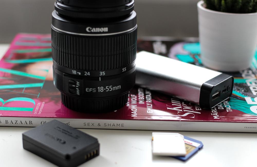 Blogger Reise Equipment Must Haves Reise Essentials für Blogger Reise Tipps Reiseblog Objektiv Akku SD-Karte
