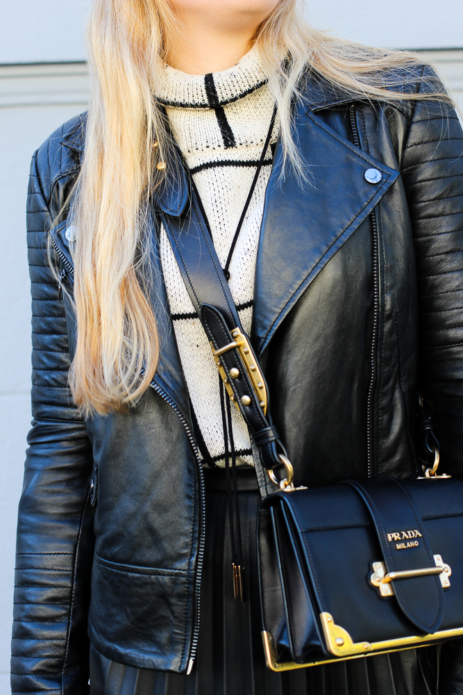 schwarze Lederjacke Oasis Rollkragenpullover Zalando Prada Cahier Bag Modeblog Köln 7