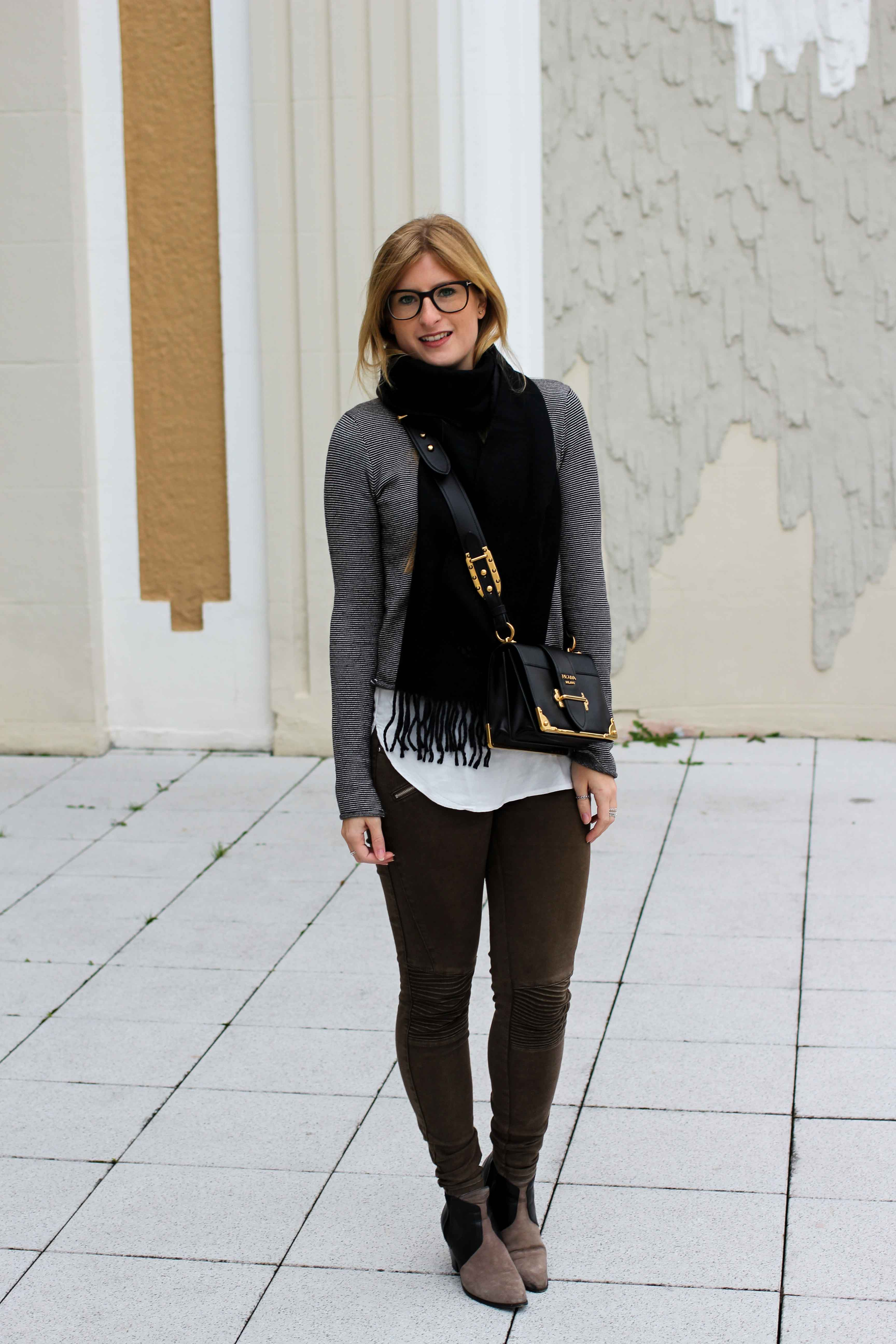 Casual Jeans Look Zara Pullover Schal Winteroutfit Prada Tasche schwarz Modeblogger 1
