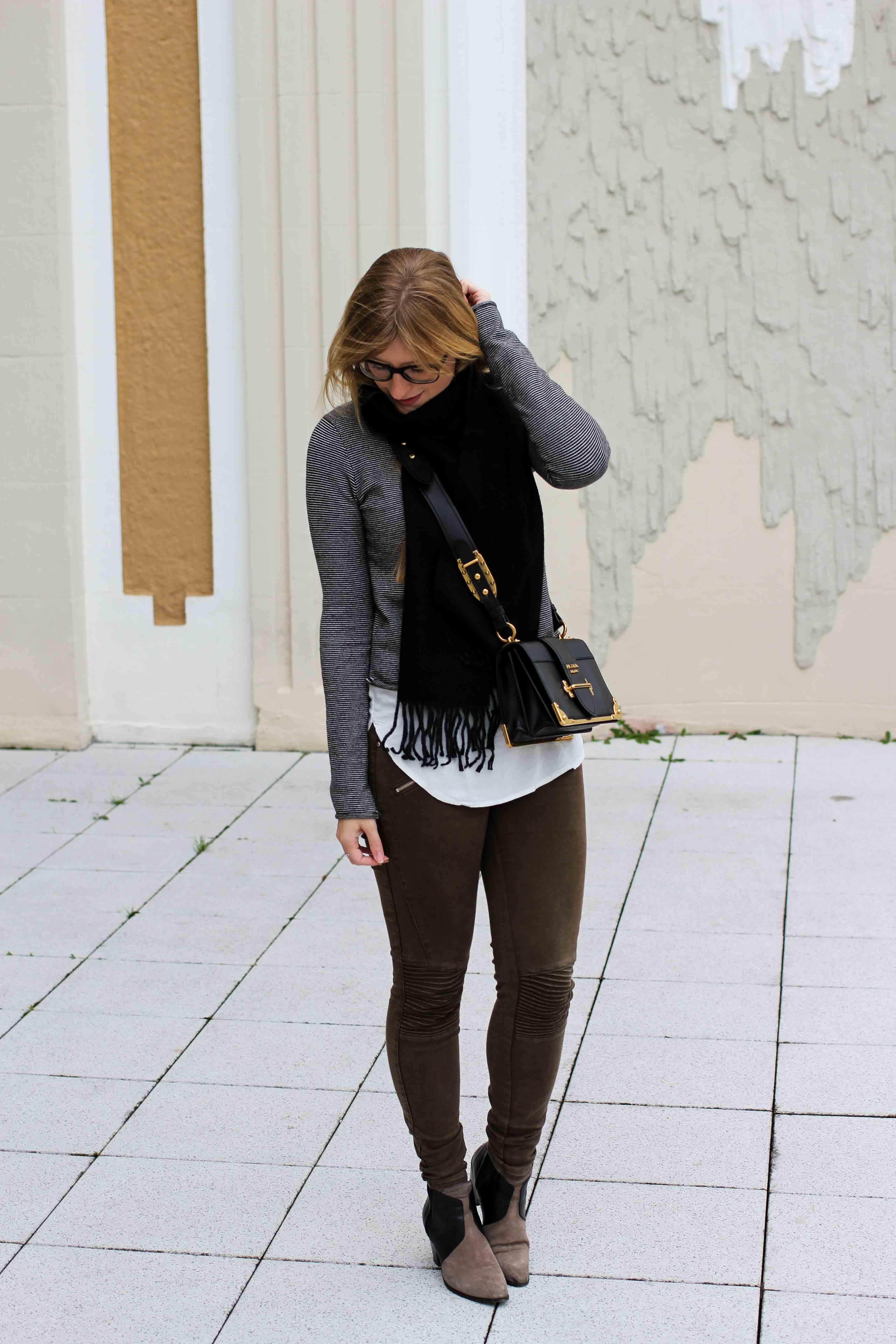 Casual Jeans Look Zara Pullover Schal Winteroutfit Prada Tasche schwarz Modeblogger 5