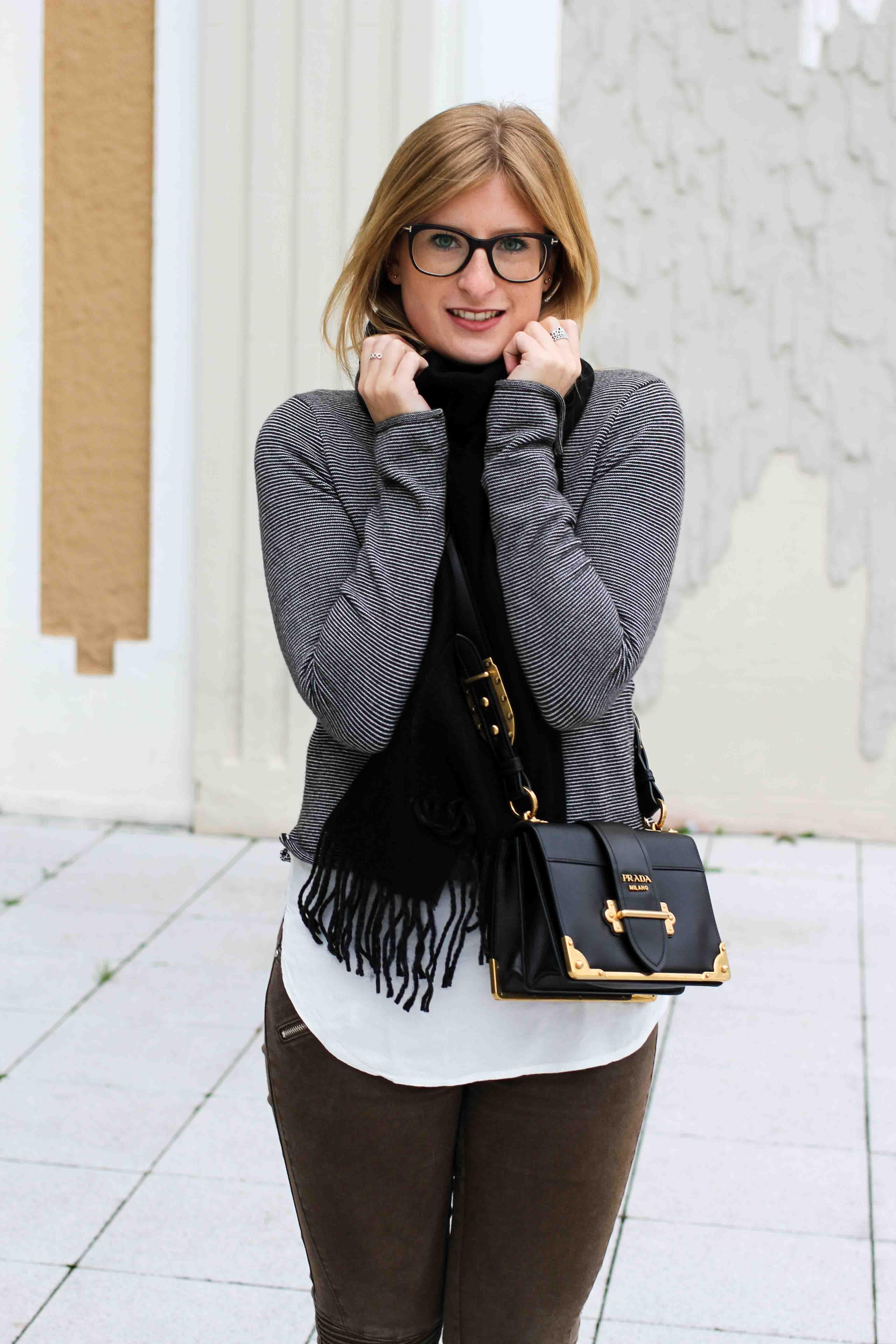 Casual Jeans Look Zara Pullover Schal Winteroutfit Prada Tasche schwarz Modeblogger street style 2
