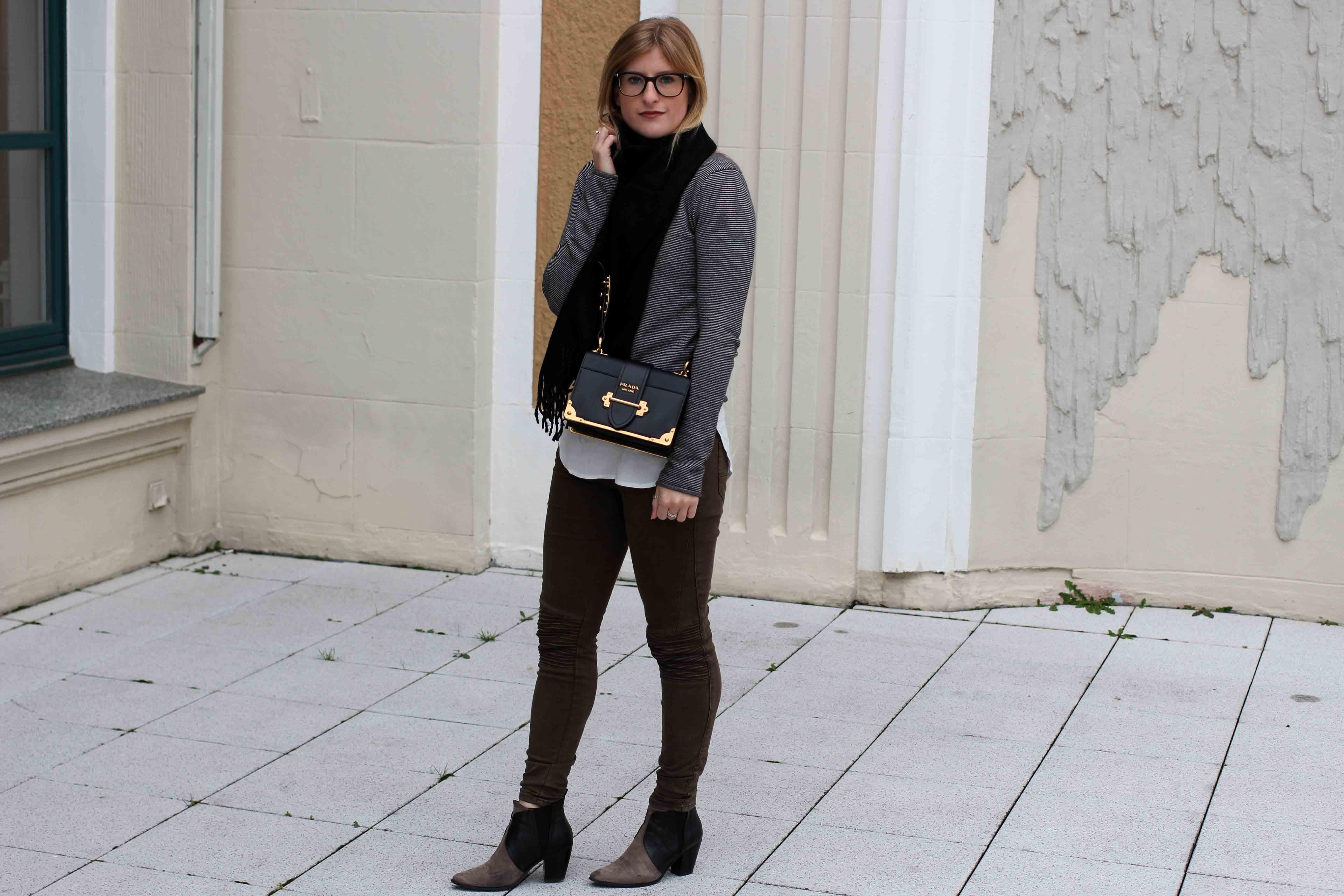 Casual Jeans Look Zara Pullover Schal Winteroutfit Prada Tasche schwarz Modeblogger streetstyle 3