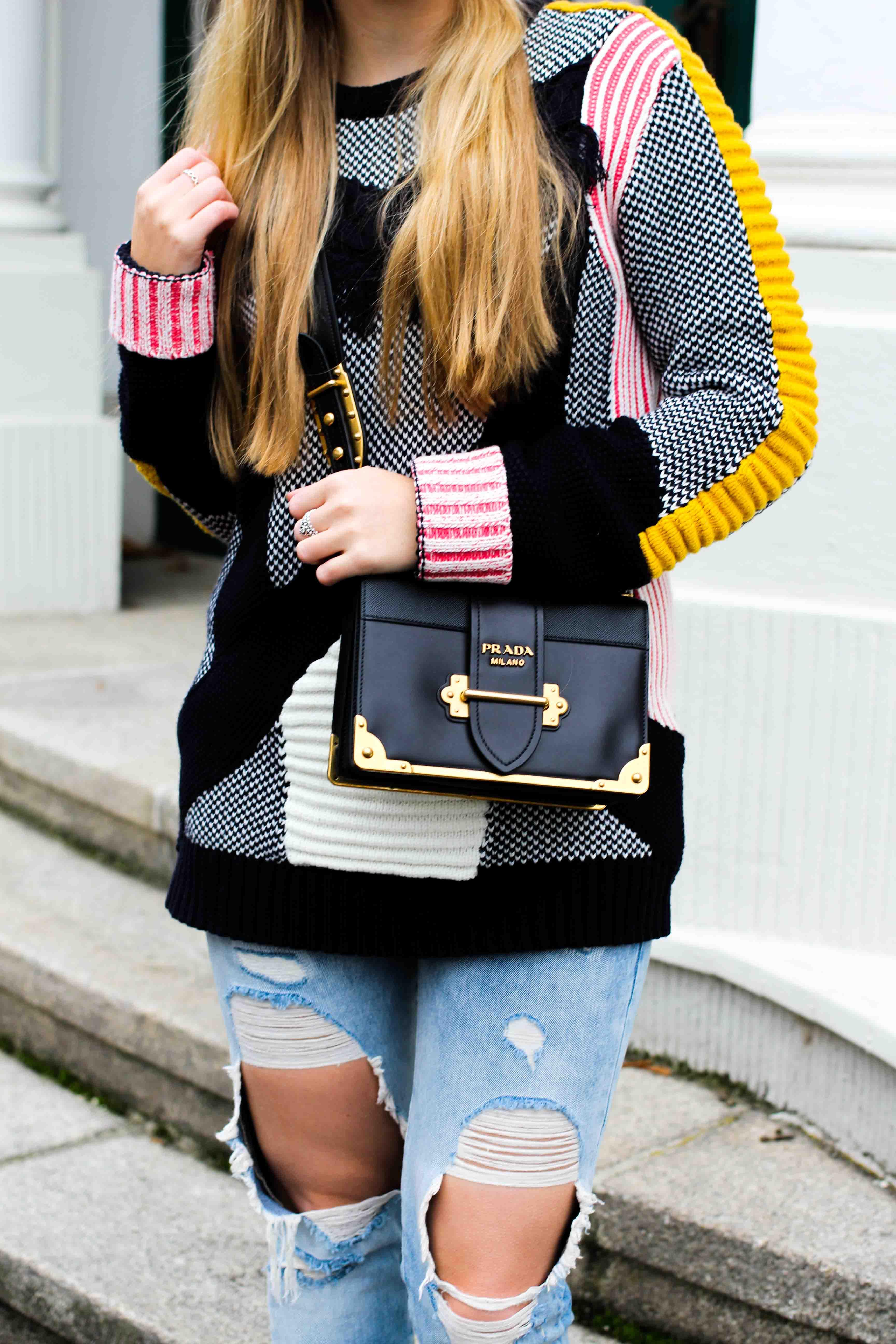Streetstyle Bunter Wollpullover Asos Statementpullover Ripped Jeans Fashion Blog Prada Tasche 3