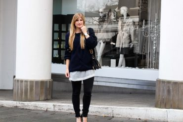 Streetstyle Wollpullover Cut-Outs Zopfmuster Layering Modeblogger t
