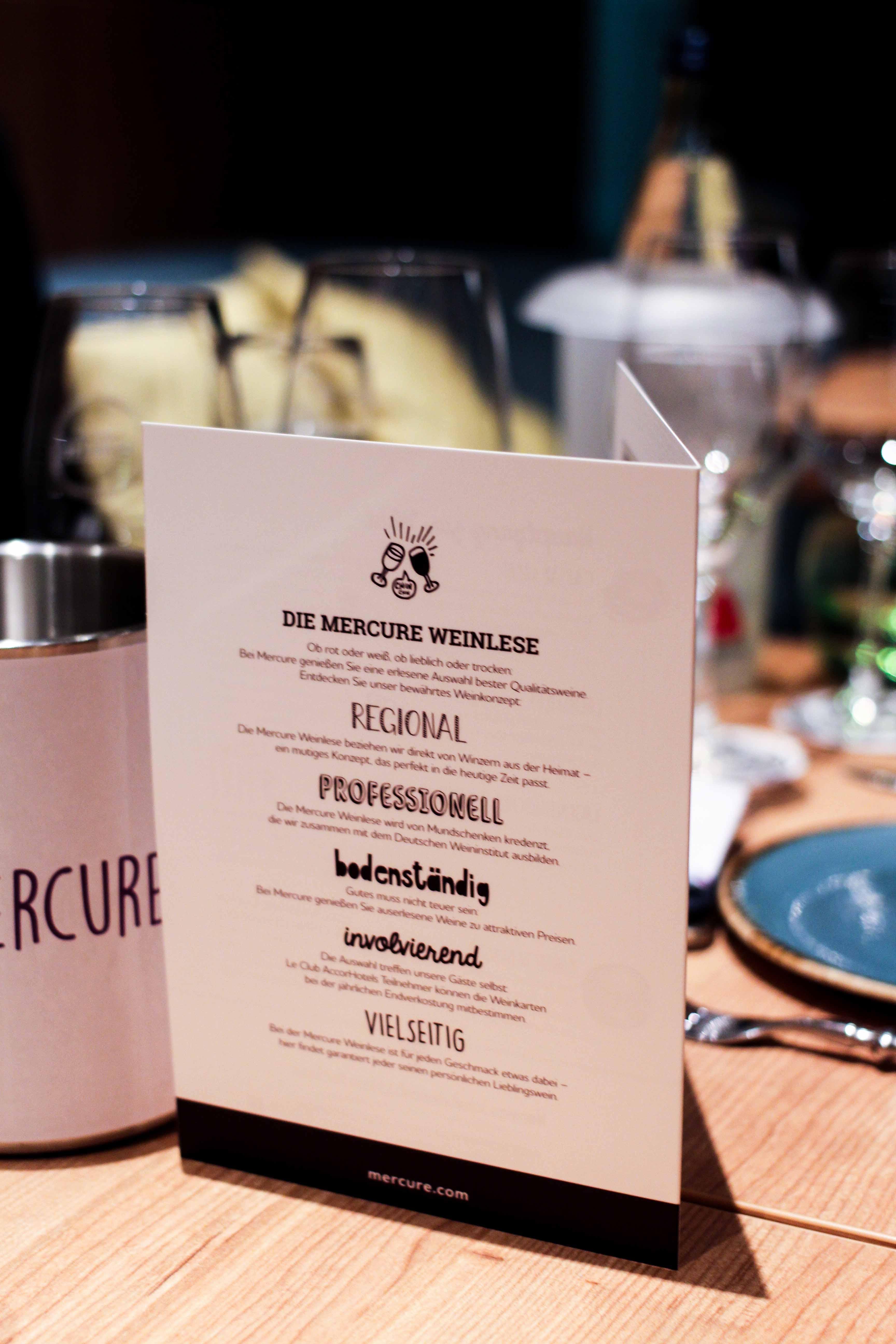 Mercure Weinlese Reiseblog Weinprobe Mercure Mannheim Weinkarte