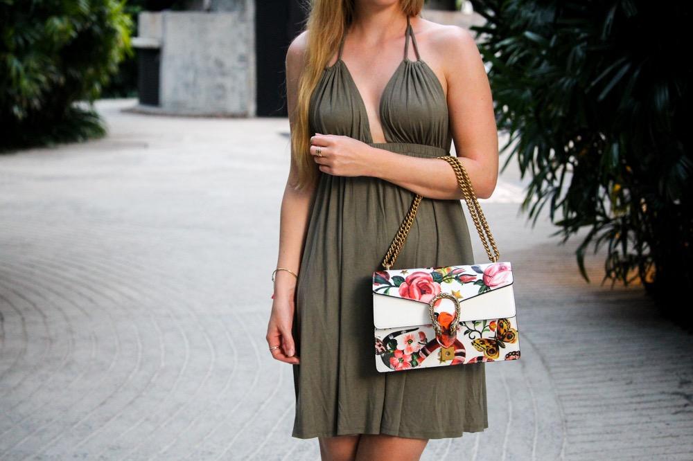 Strandkleid Neckholder Grün Asos Gucci Dionysus Garden Print Modeblog Thailand Outfit 7