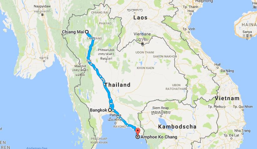 Thailand Rundreise Route Bangkok Chiang Mai Koh Chang Reiseblogger Travelbogger