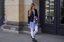 Streifen-Bluse Schleifen-Ärmel Edited weiße Sommerhose Lederjacke nieten Boots Topshop Streetstyle Berlin Fashionblog