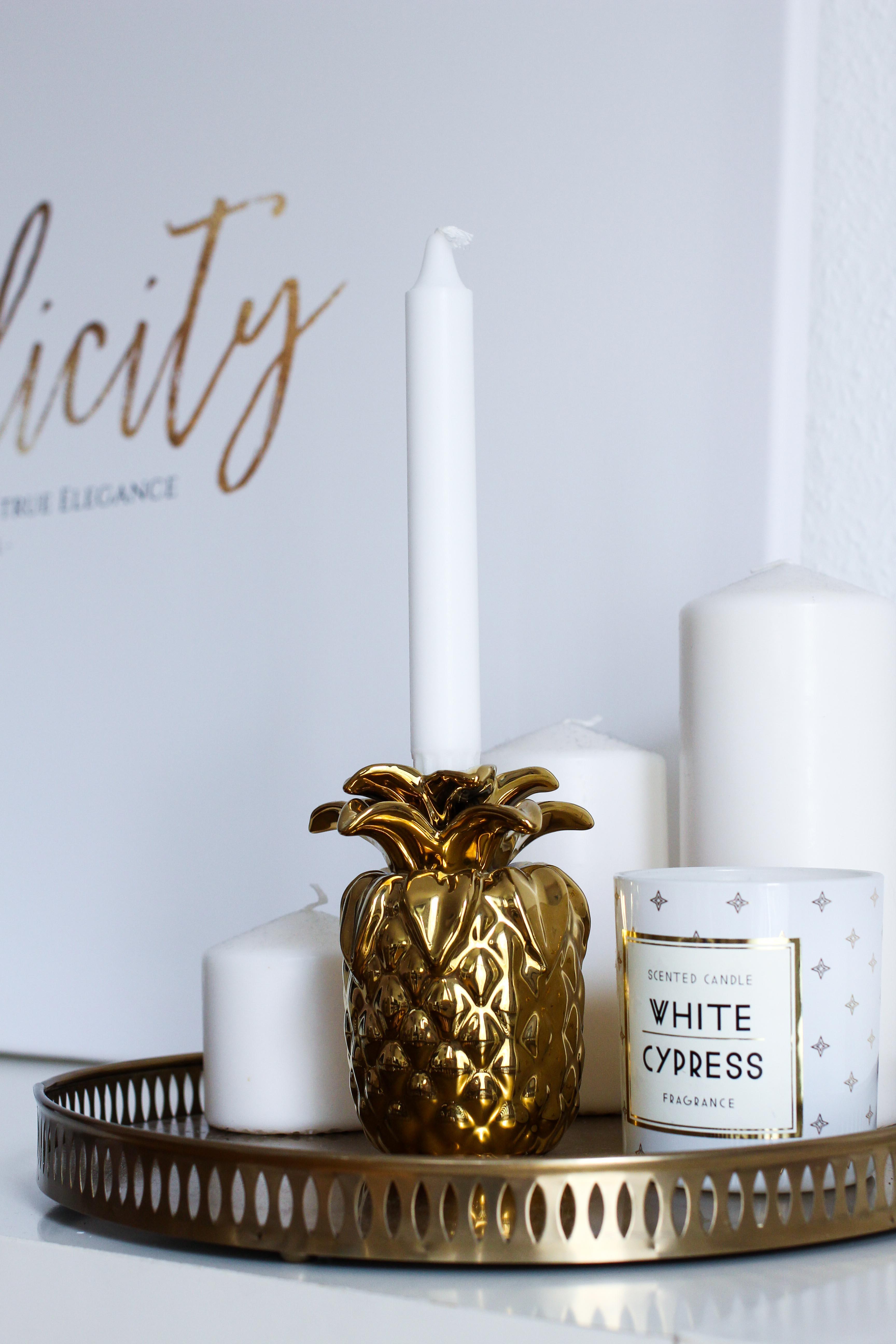 Interior Tipp Wohnung Poster Leinwand goldene Ananas Deko Kerze H&M Home Coco Chanel Posterlounge