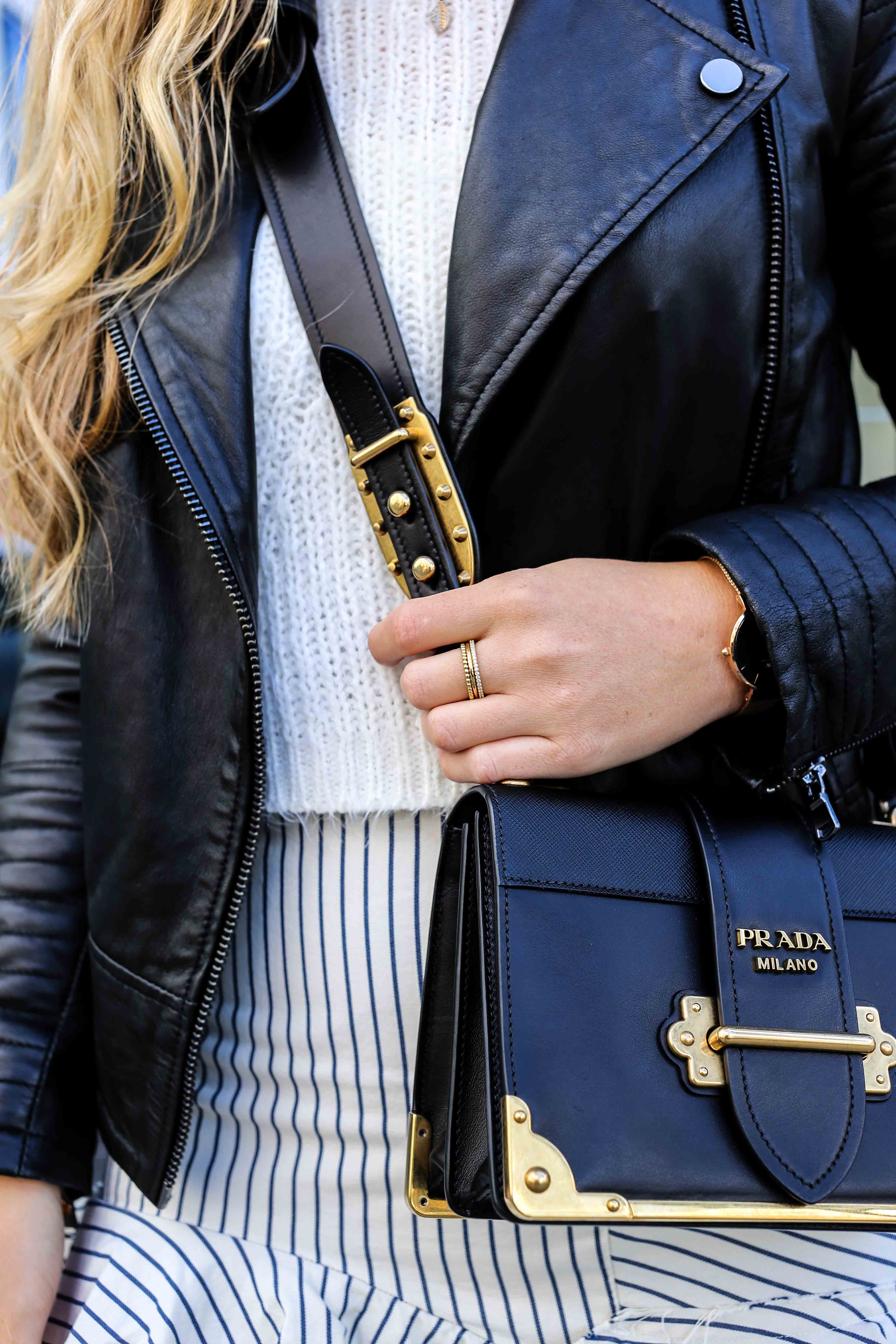 Fashion Week Outfit Berlin Prada Cahier Bag schwarz Thomas Sabo ringe gold Lederjacke Streetstyle Modeblog 2