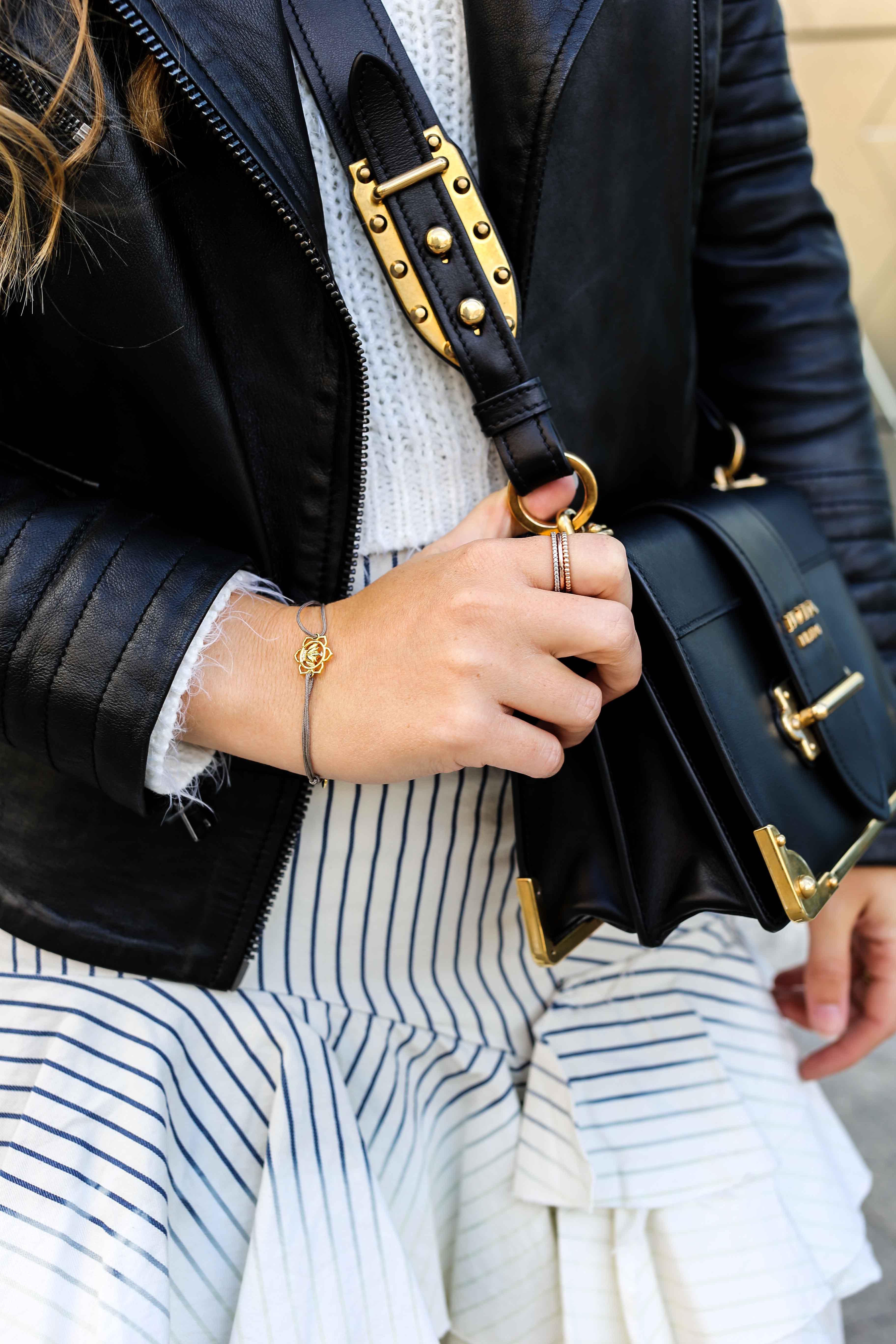 Fashion Week Outfit Berlin Prada Cahier Bag schwarz Thomas Sabo ringe gold Lederjacke Streetstyle Modeblog 4