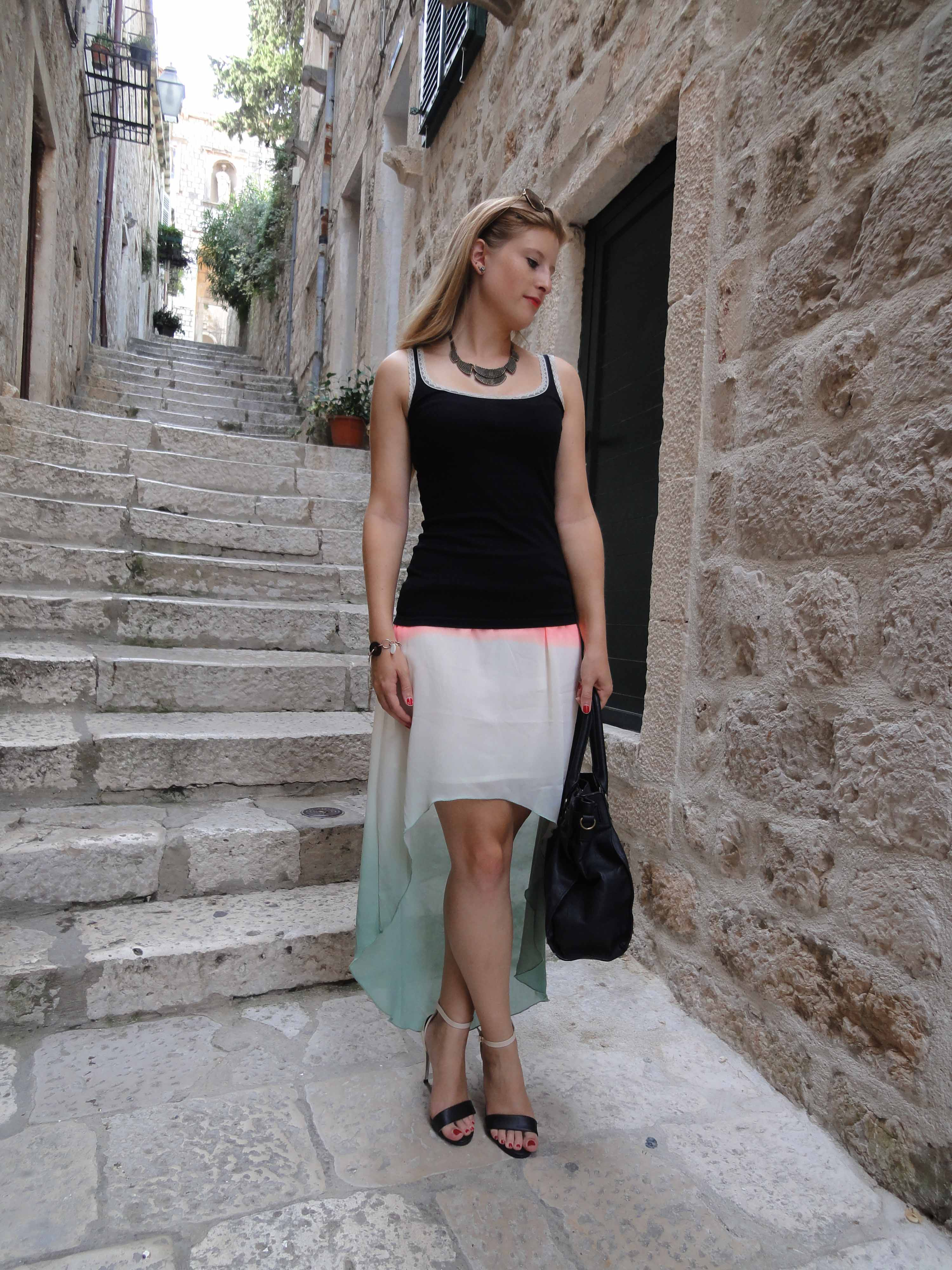 Mullet Skirt Vokuhila Rock kombinieren Sommeroutfit Fashion Look Dubrovnik Pilotensonnenbrille Modeblog 2