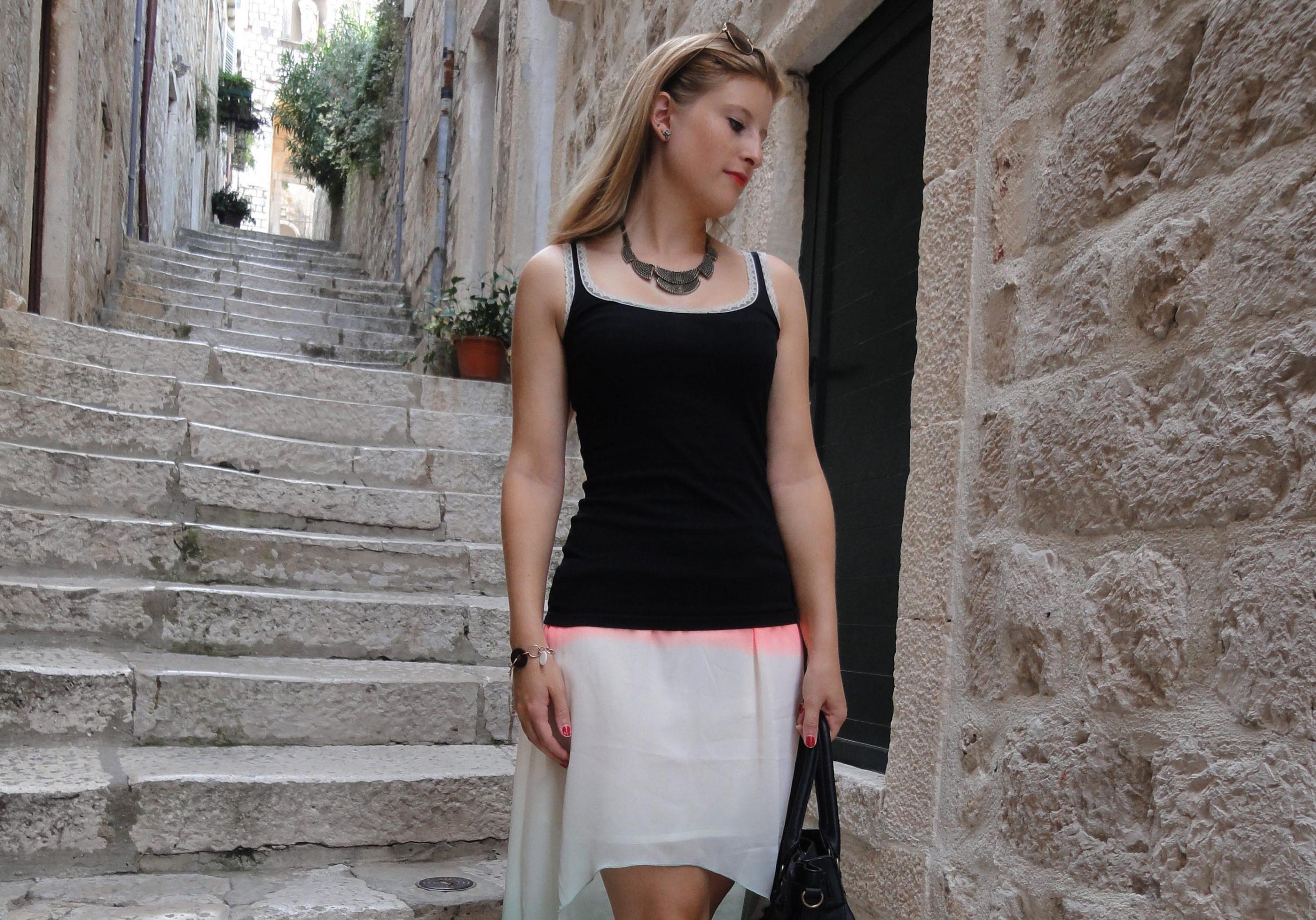 Mullet Skirt Vokuhila Rock kombinieren Sommeroutfit Fashion Look Dubrovnik Pilotensonnenbrille Modeblog 5