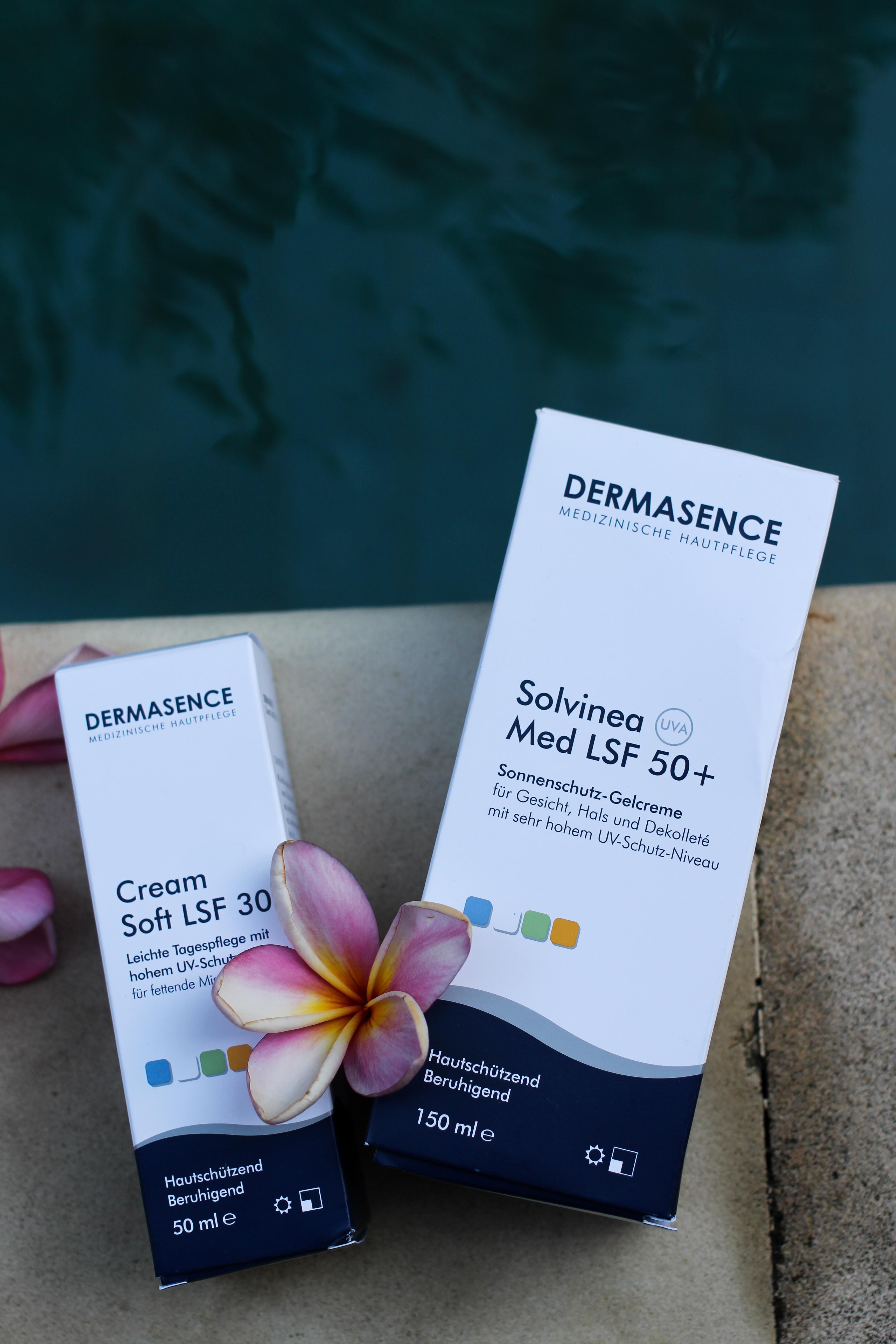 Urlaubs-Hautpflege Sommerurlaub trockene empfindliche Haut Dermasence Sonnenschutz Cream Soft LSF 30 Sonnencreme LSF 50+ Beauty Blog Bali