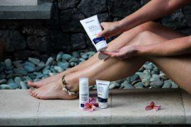 Urlaubs-Hautpflege Sommerurlaub trockene empfindliche Haut Sonnenschutz Dermasence Sonnencreme Solevina Med LSF 50+ Beauty Blog Bali Pool