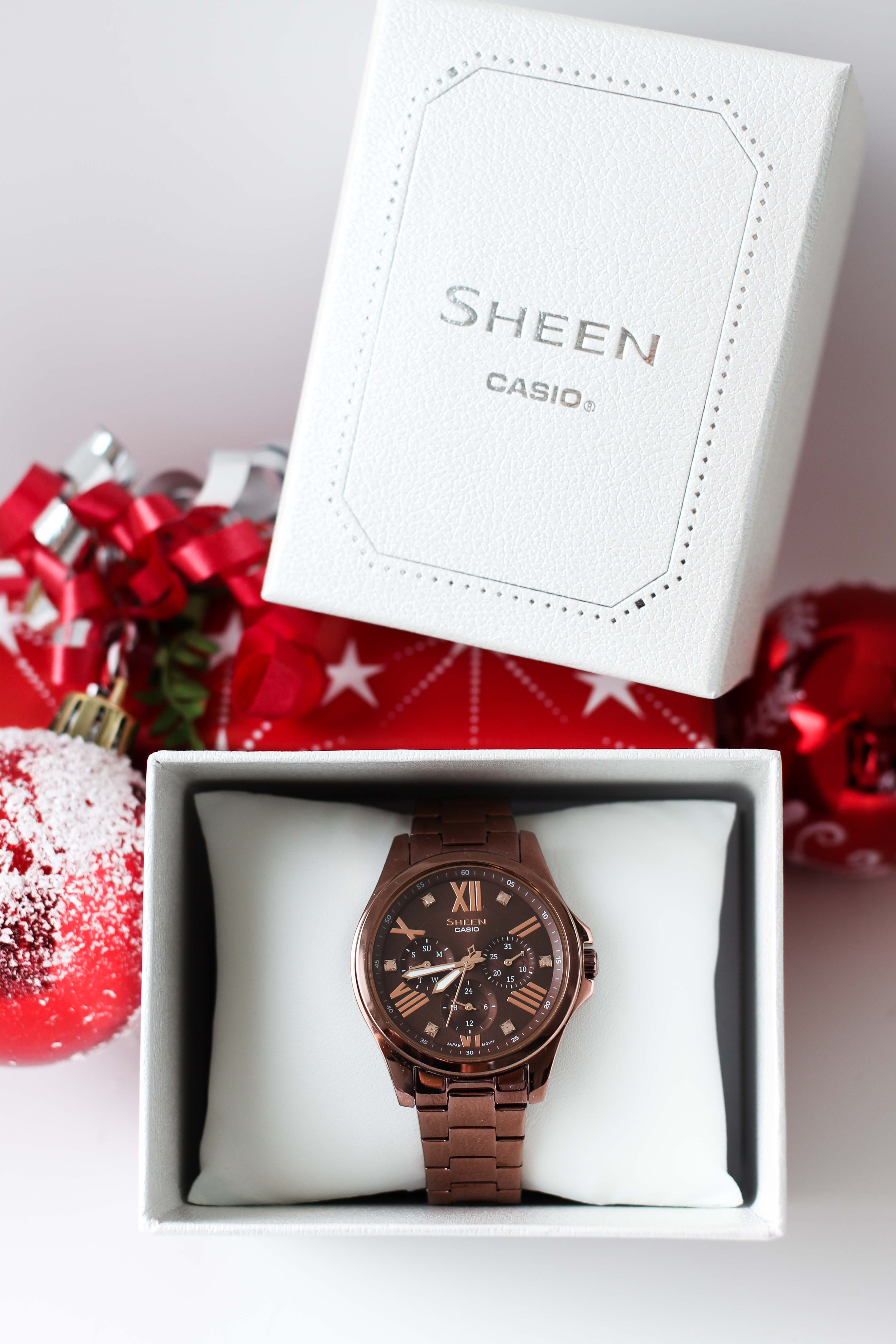 Adventskalender Blog Fashion Blog Deutschland Gewinne Sheen by Casio Damenuhr in Roségold Braun Gewinnspiel Geschenkidee Weihnachten