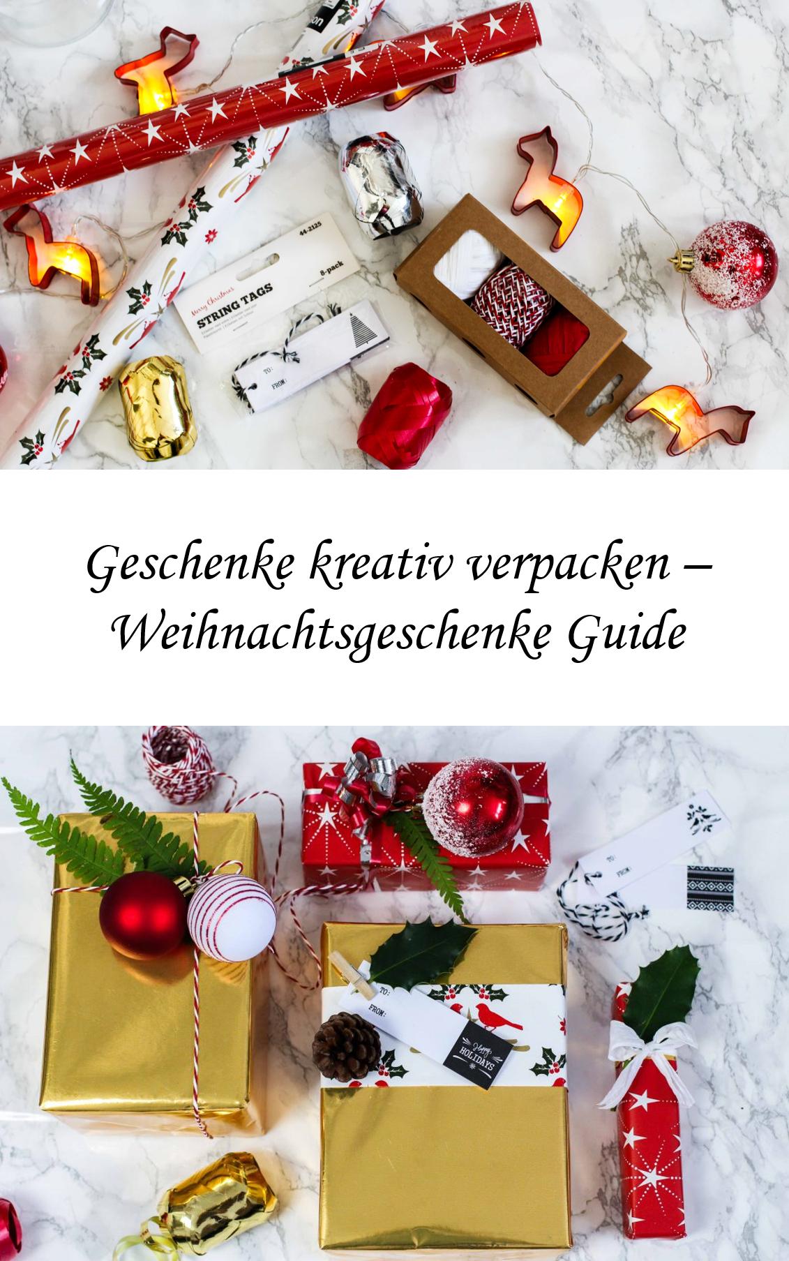 Geschenke-kreativ-einpacken-Weihnachten-Kreativer-Christmas-Gift-Wrapping-Guide-Clas-Ohlson-Geschenkpapier-Geschenk-Ideen-Dekoration gold weiß rot
