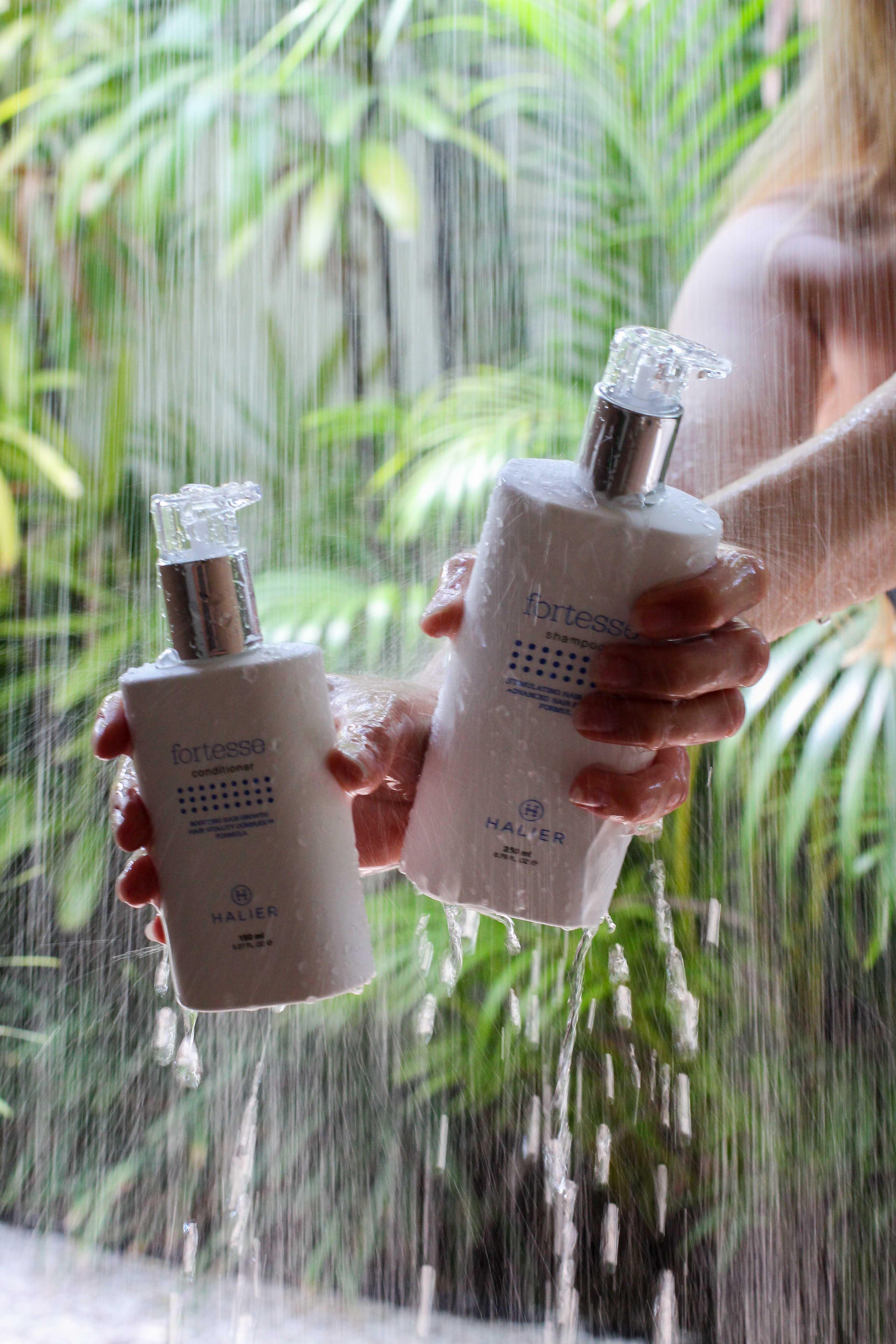 Haarpflege Halier Fortesse Shampoo Conditioner Test gesundes kräftiges Haar Beauty Blog Bali Dusche Palmen