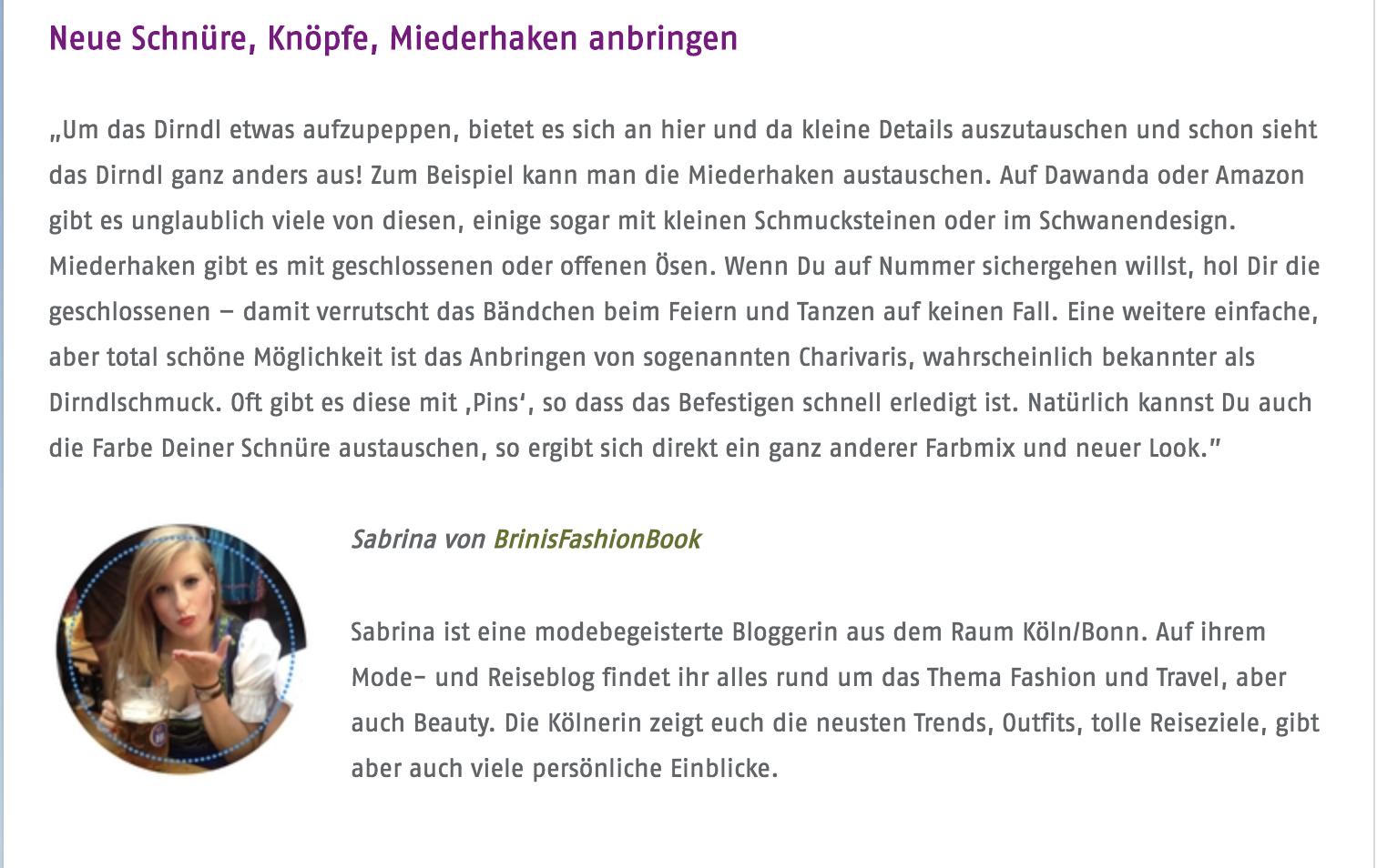 Modeblog Deutschland Fashion Blog Köln Brinisfashionbook Interview Alpenwelt Dirndl aufpeppen Experteninterview