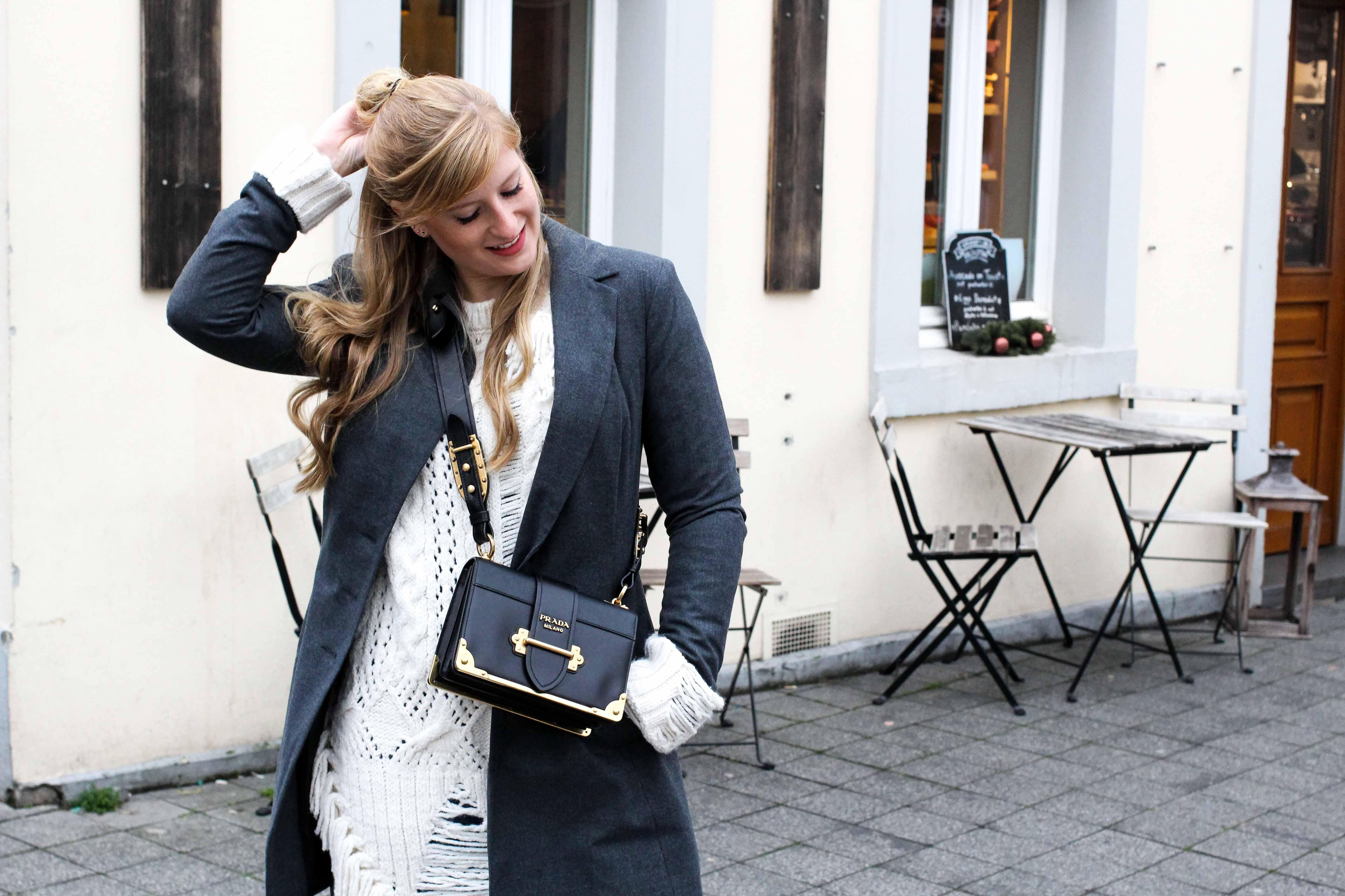 Outfit Zara Wollpullover kombinieren Winterlook Prada Cahier Tasche Classy Cozy Modeblog Bonn half bun 7