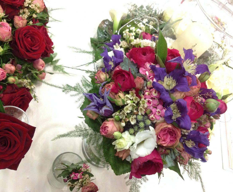 Hochzeitsmesse Impressionen Hochzeit heiraten Brautkleid Blumenstrauß lila rosa
