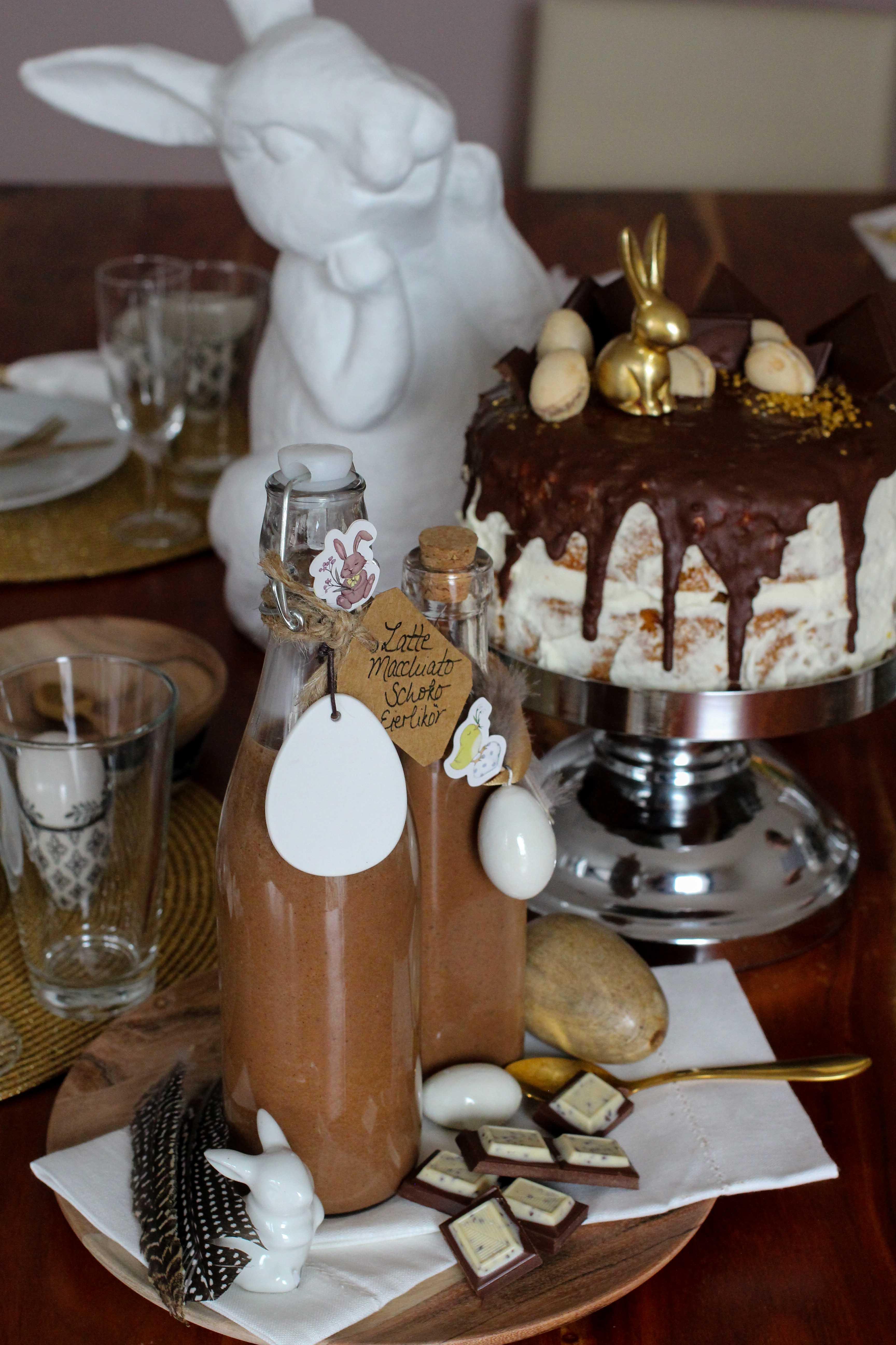 Latte Macchiato Schoko-Eierlikör Rezept einfach selber machen Ostern Vivani Möhrenkuchen mit Schokoladenüberzug Ostern 1