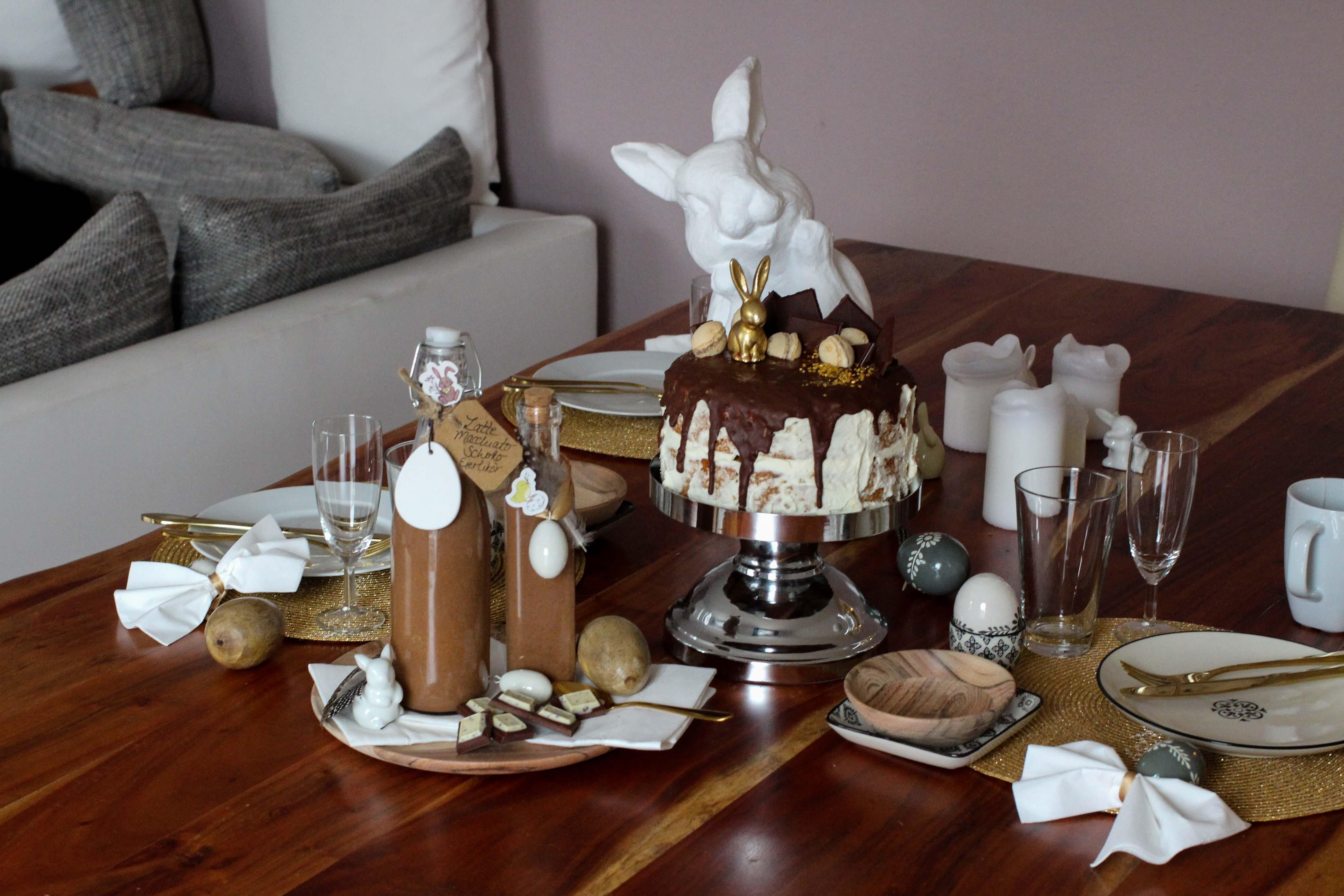 Latte Macchiato Schoko-Eierlikör Rezept einfach selber machen Ostern Vivani Möhrenkuchen mit Schokoladenüberzug Ostern Tisch