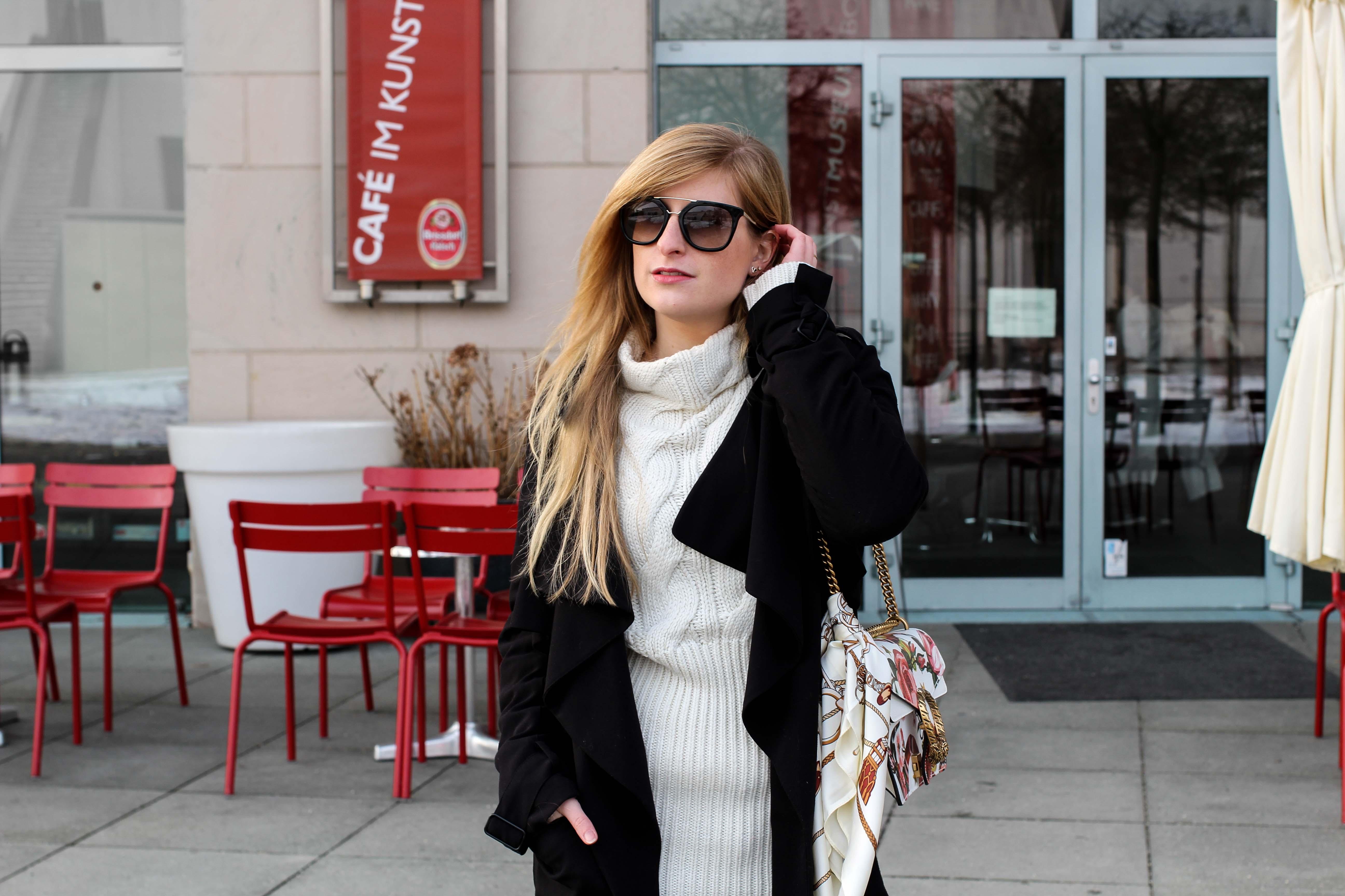 Gucci Dionysus Garden Print kombinieren Tuch Frühlingslook Wollpullover Weiß kältere Tage Sonnenbrille Prada Modeblogger Bonn OOTD 2