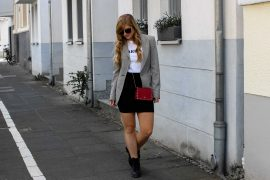 Casual Business Look Karo Blazer Zara Statement Shirt Darlin Nakd Edited Boots Schleife Modeblogger Bonn Valentino Tasche Rot
