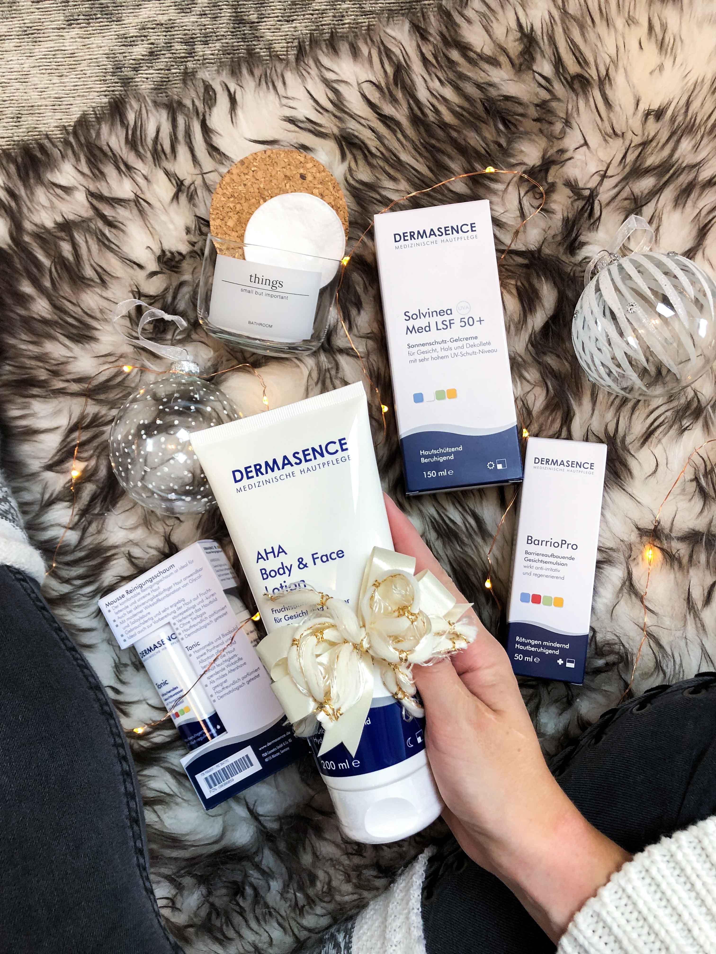 Blogger Adventskalender Gewinnspiel Dermasence Hautpflege Winter Urlaubs-Reiseset Tonic Mousse AHA Body Face Lotion Solvinea Med LSF 50 Beauty Blogger Tipps