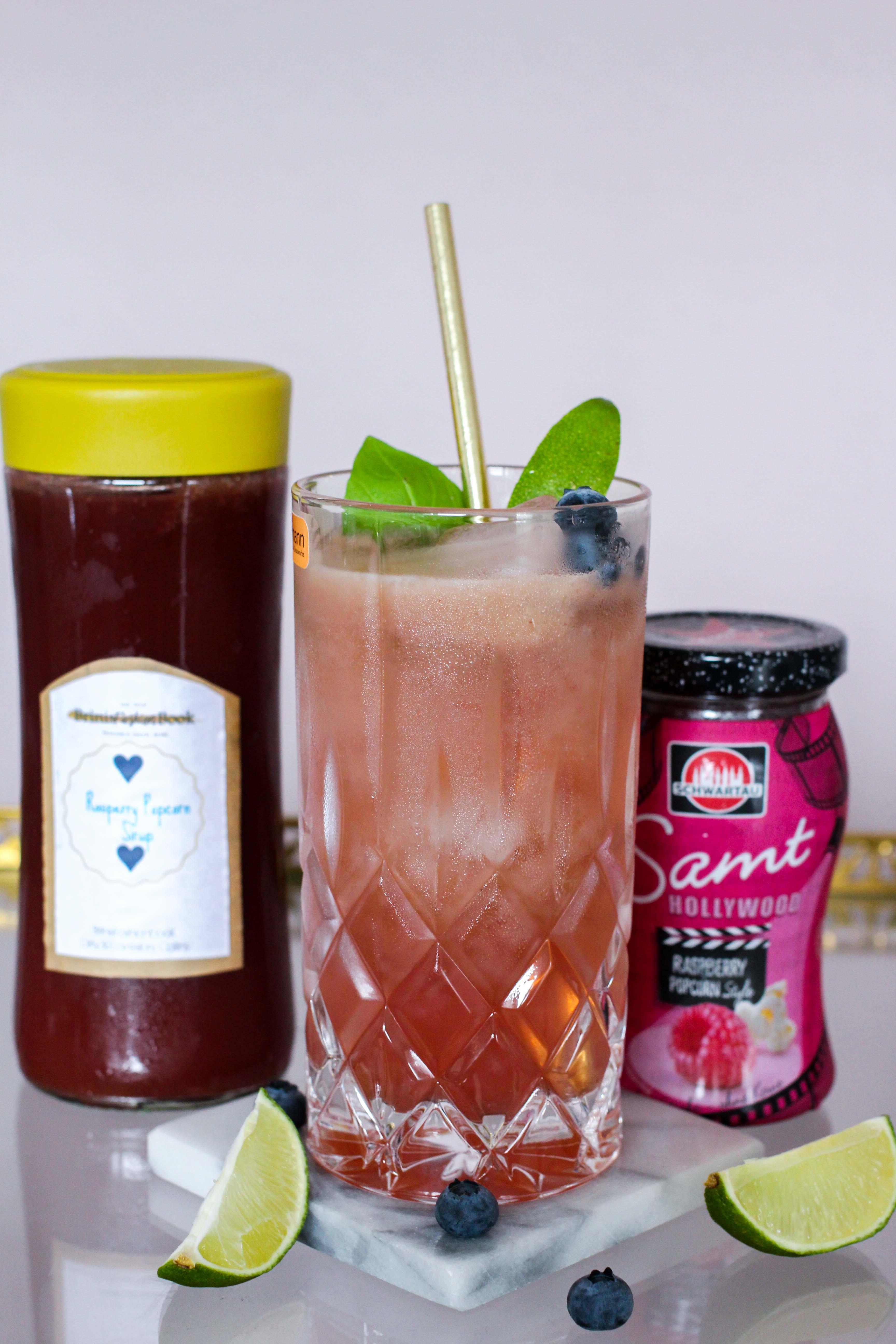 30ster Geburtstag Gin Rezept Siegfried Gin Cocktail BrinisFashionBook Dirty30 Lovestory Collins Rasperry Popcorn 3