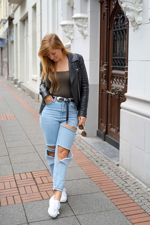 Herbstmode 2019 Herbstoutfit Lederjacke Ripped Jeans Modeblog Bonn 9
