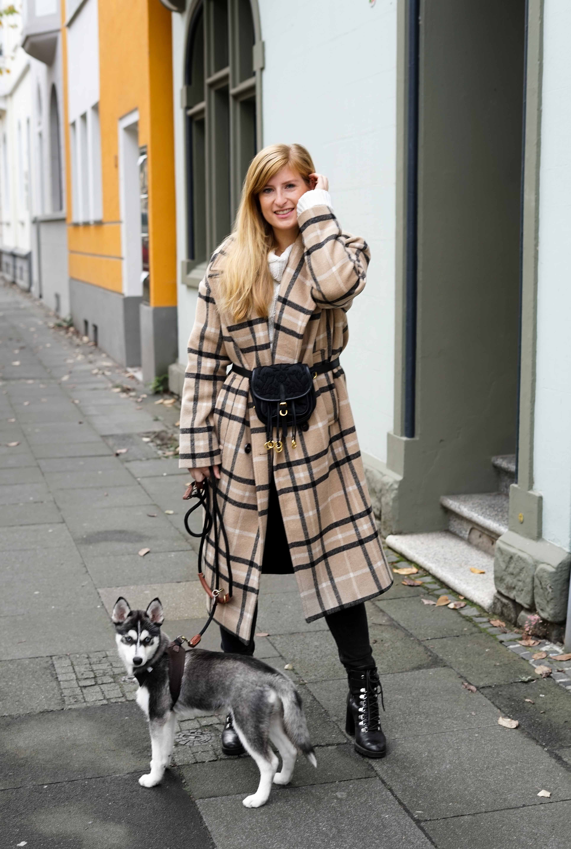 Oversized Wollmantel karriert Gürteltasche Prada Herbstoutfit Herbstlook Pomsky Streetstyle Bonn 1