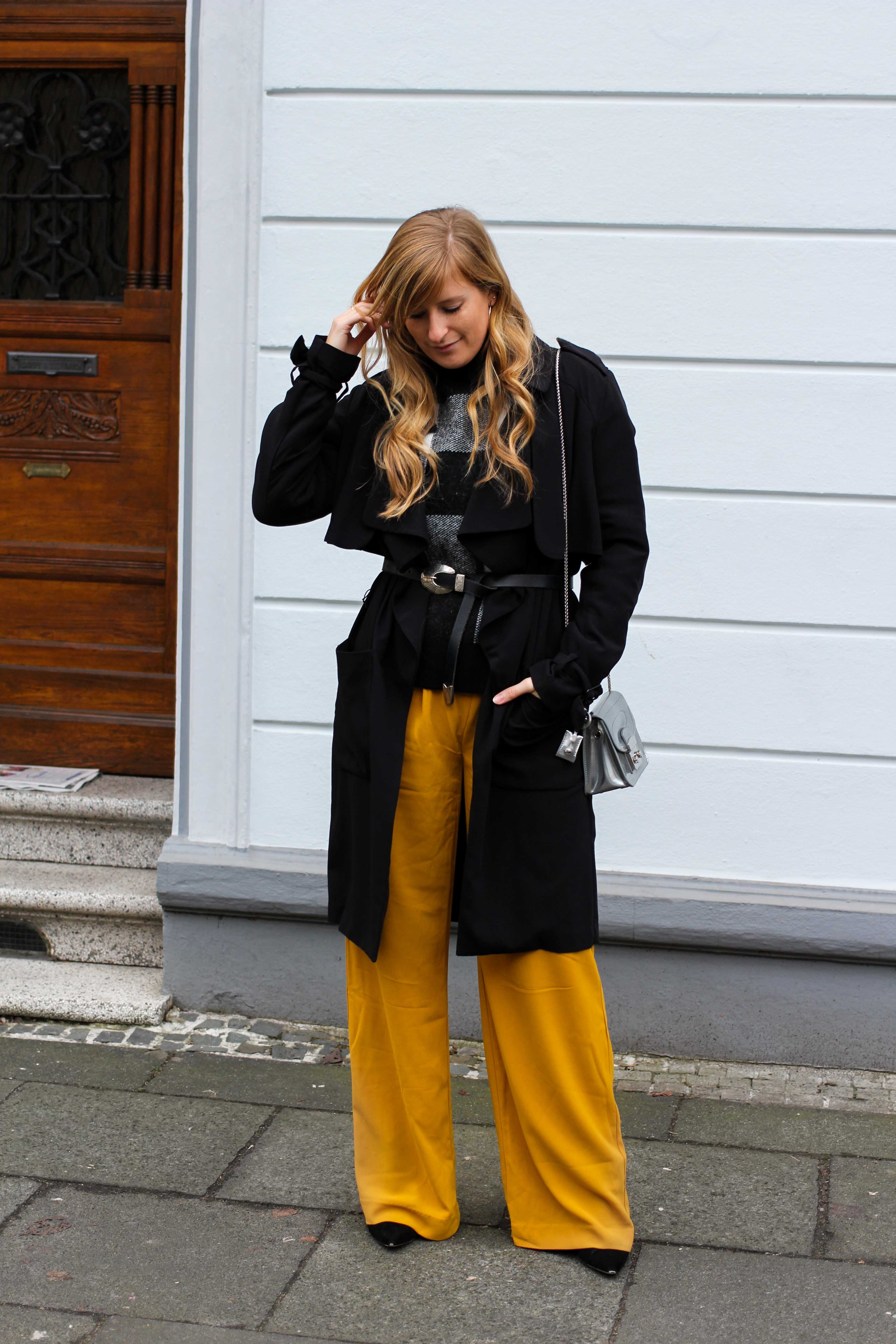 Karo Pullover Wide Leg Pants Gelb Weite Hosen kombinieren Modeblog Outfit Herbst Winter Bonn Blog 1